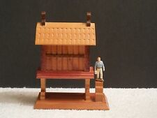 """Small Hand Crafted Elevated Wooden House Figurine ~ 4"""" Tall ~ 3"""" Wide"""