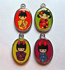 4 x ENAMELED  JAPANESE DOLL CHARMS VERY COLOURFUL 25mm x 15mm