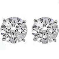 14K GOLD CREATED DIAMOND  2.86 CARAT ROUND SHAPE STUD PUSH BACK EARRINGS 5mm