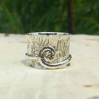 925 Sterling Silver Spinner Ring Band Meditation Statement Handmade Jewelry A95