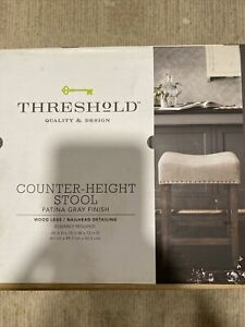"Threshold Patina Gray 24 "" Counter Height Stool W/ Wooden Legs Nailhead Detail"