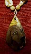Plott Hound hand painted on teardrop Picture Jasper pendant/bead/necklace