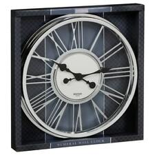 Large Numeral Stylish Wall Clock Silver Complete With Hooks