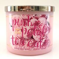 NEW 1 BATH & BODY WORKS PINK PETAL TEA CAKE SCENTED 3-WICK 14.5 OZ LARGE CANDLE