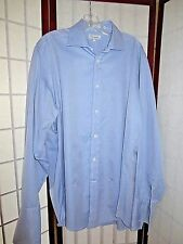 FACONNABLE MENS DRESS SHIRT  4/16L  LARGE BLUE FRENCH CUFF USA