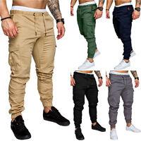 Mens Slim Fit Urban Straight Leg Trousers Casual Pencil Jogger Cargo Sweat Pants