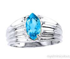Marquise Shaped Blue Topaz Promise Ring Birthstone 14K White Gold