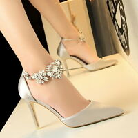 Rhinestone Buckle High Heels Shoes Party Wedding Women Pumps Heels Dress Shoes