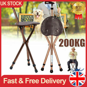 Cane Seat Crutch Chair Folding Massage Walking Stick Disabled Height Adjustable