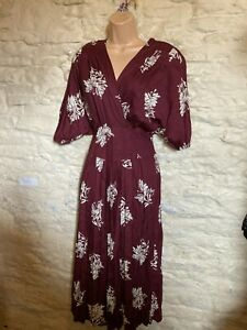 burgundy print  dress size 14