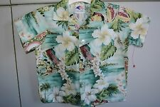 Nui Nalu  Boys 3T Aloha Shirt  Sights of Honolulu Print/Mint