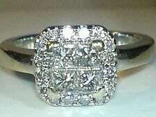 18ct white gold hallmarked real natural  diamond  heavy ring size i