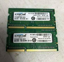 4GB DDR3 - 1600 SODIMM - Crucial - Lot of 2 - Laptop RAM