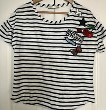 Oui, Breton Stripe T Shirt With Badges, Size Uk 12, EU 38