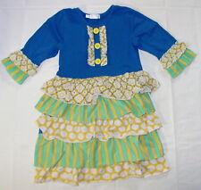 Girls Tutu & Lulu Dress Size 5 6 yrs Blue Tiered Ruffles Floral D02