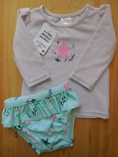Baby Infant Girl 2 Pce Bathers Costume Outfit Rash Top Set Swimwear Size 000