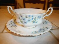Richmond Bone China England Cream Soup Bowl / Cup and Saucer - Blue Rock