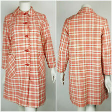 Vintage Dutchmaid Womens Plaid Retro Trench Coat 38 Short