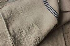 Antique GRAIN SACK natural indigo blue stripe hemp organic fabric grainsack old