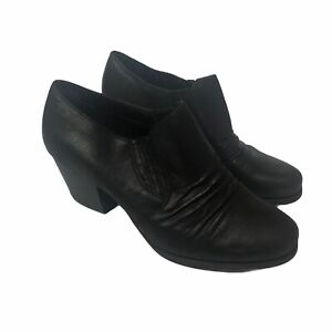 YUU Ranchen Faux Leather Black Ankle Boots Booties Block Heel Womens 10W Wide