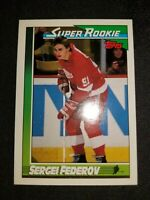 1991-92 Topps Red Wings Hockey Card #8 Sergei Fedorov SR ROOKIE MINT CONDITION