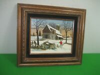 Vintage H. Hargrove House in Snow Little Boy Painting Signed Brown Wood Frame