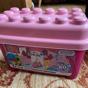 Mega Bloks Playhouse Adventure 60 Bricks & Storage Box Pink Girl Construction
