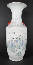 19 C Qing Republican Porcelain Famille Rose 8 Beauties Calligraphy HUGE Vase yqz