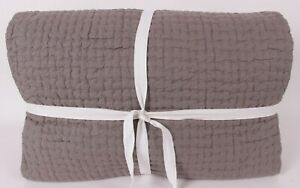 New Pottery Barn Pick-stitch handcrafted cotton linen king quilt, flagstone gray