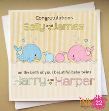 Personalised Cute Handmade Card For New Baby 'Whales', Boy Girl Twins, Triplets