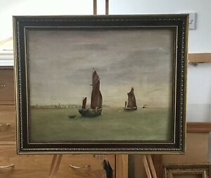 Lewis Conibeer - Oil Painting Thames Barges off Gravesend.