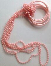 parure de 3 bracelets et 3 sautoirs fantaisie rose nacré résine moulée 520