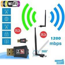 MINI ADATTATORE USB PC WIFI 1200 MBPS ANTENNA CHIAVETTA WIRELESS Internet WIFI