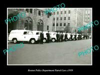 OLD POSTCARD SIZE PHOTO OF THE BOSTON POLICE DEPARTMENT PATROL CAR LINE-UP 1959