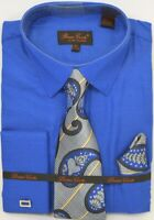 Men's Dress Shirt Tie Hanky Set Royal Blue French Cuff With Cuff Links