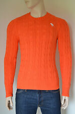 NUOVO Abercrombie & Fitch WOLF POND Cavo Knit Sweater Maglione L ARANCIONE RRP £ 98