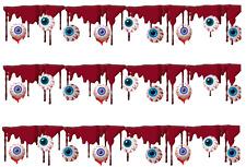 Halloween Blood & Eyeballs  Edible Icing Cake Side Strips / Ribbon (3 strips)