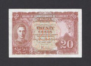 Malaya 20 Cents 1941 1945 (Pick 9a)
