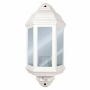 Eterna 60W Half-Lantern with PIR Sensor White Porch Light with Frosted Panels