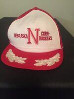 Vintage Nebraska Cornhusker Trucker Hat With Silver Trim On Brim