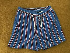 NWOT POLO BY RALPH LAUREN NAVY BLUE/RED/WHT STRIPE POLY LINED SWIM TRUNKS LG
