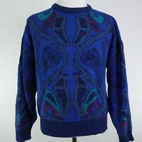 VTG 90s CITY STREETS LONG SLEEVE BLUE COSBY STYLE SWEATER MENS SIZE XL