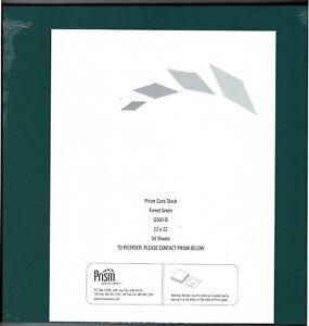 "NEW Prism Forest Green Card Stock 12"" X 12"" 50 Sheet Pack Scrapbooking Scrapbook"