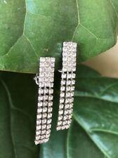 Vintage old Hollywood rhinestone drop earrings 50s Antique 1950s
