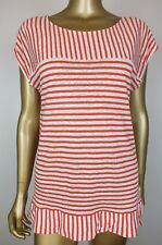 SEED HERITAGE TOP STRIPED RED SHIRT BLOUSE TUNIC TOP - 100% LINEN M
