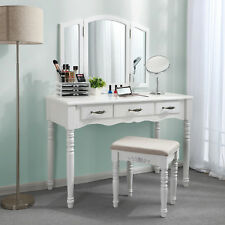 Large Dressing Table with Tri-fold Mirror and Cushioned Stool Makeup Desk RDT18W