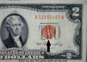 1953 ERROR $2 RED SEAL 3rd Print Shift US Note ~ NICE VF Currency LOT #487   NR