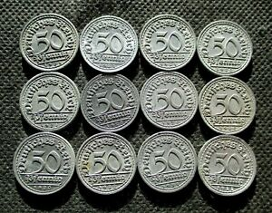 LOT OF TWELVE OLD COINS OF GERMANY (WEIMAR REPUBLIC) - MIX 738