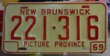 1969 New Brunswick, Canada Steel Embossed License Plate # 221-316   Never Issued
