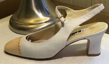 Palizzio White Beige Spectator Vintage Sling Pumps 8.5N